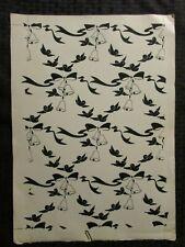 "CHRISTMAS Graphic Bells Bows & Birds 12x17"" Greeting Card Art #nn"