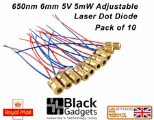 Pack of 10 650nm 6mm 3V Red Laser Dot Diode Module Copper Head U.K SELLER