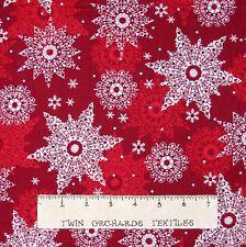 Christmas Fabric - Celebrate the Season Red Snowflake Quilting Treasures YARD