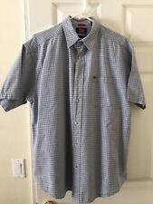 Men's Wrangler Blue Plaid Western Shirt Large  short sleeve EUC J04