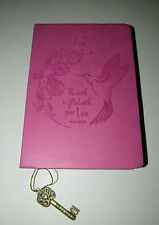"PINK HUMMINGBIRD ""THE EARTH IS FILLED W/ YOUR LOVE"" CHRISTIAN KEY CHARM JOURNAL"