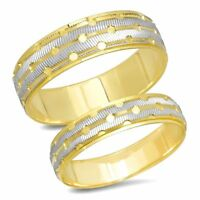 His & Hers 14K Gold Mens Womens Matching Wedding Band Engagement Ring Set Duo