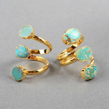 Similar! Gold Plated Triple Stones 100% Natural Turquoise Ring QM0280
