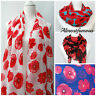 Poppy Print Scarf Summer Flower Beach Wrap Ladies Red Poppies Fashion Shawl