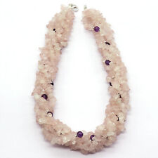 Twisted Necklace Made Of Rose Quartz Uncut and Amethyst Ball Smooth Beads