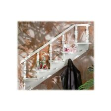 Mensola in legno a scaletta con 5 appendini Cm. 78x14x76