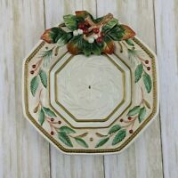 Fitz And Floyd Winter Wonderland Christmas Canape Plate Holly Berry Wall Decor