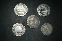 Lot Sale! 5 Pcs Authentic Ancient Islamic Silver Umayyad Coins Circa 661- 750 CE