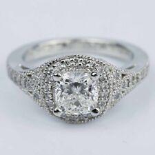 Cushion Cut Cz Dia Engagement Ring 14K White Gold Plating Art Deco Halo