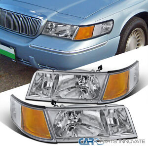 For 98-02 Mercury Grand Marquis Clear Headlights Lamps+Corner Signal Lamps LH+RH