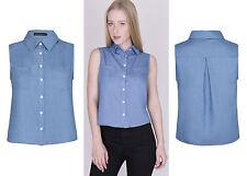 Womens Denim Vest Sleeveless Blouse Crop Casual Tank Tops Jean Shirt UK 12