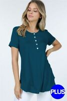 Plus Size Loose Fit Teal Henley Short Sleeve Rounded Hem Blouse Top 1x/2x/3x