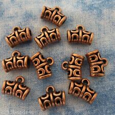 Antique Copper Curved Oblong Charms 12 Pieces Alloy Metal 6mm x 12mm  #0653