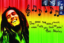 A2 GLOSS LAMINATED BOB MARLEY RASTA COLORS POSTER | MUSIC | JAMAICAN | ART PRINT
