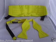 LEMON Yellow Polyester Self-tie Bow Tie and Cummerbund Set > P&P 2UK >>1st Class