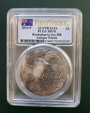 2018 Australia Kookaburra 2 oz 9999 Silver coin PCGS MS 70 High Relief Antique !