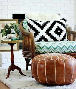 Moroccan Pouf Ottoman Footstool Leather Round Poof Pouffe Seat Stool Tan Hassock