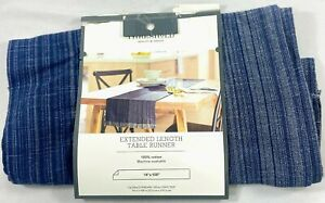 """Cotton Striped Table Runner 14"""" x 108"""" - Threshold - Free Shipping"""