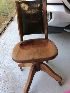 Victorian Oak Swivel Adjustable Office Desk Chair, Leather Back