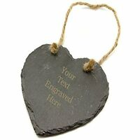 Personalised Slate Heart with Laser Engraved Text, Any Occasion Gift Vincenza UK
