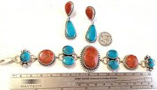 Turquoise Coral Sterling silver link bracelet earrings TByrd design Navajo AJoe