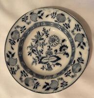 """ANTIQUE STAFFORDSHIRE FLOW BLUE ONION PATTERN 9"""" SOUP BOWL c.1911"""