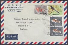 "1964 Singapur, Gim Cheong Jabones & Co (""""), Playa Camino, correo aéreo a Londres, Inglaterra"