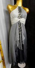 New BCBG 100% Silk Dress Beaded Jeweler Halter Gray Gradient Ruffle Front Sz 2