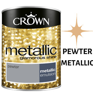 Crown 1.25L Metallic Pewter Emulsion Paint Shimmer Luxury For Walls Ceilings