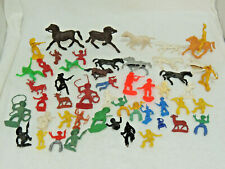 Vintage Lot of 50 Plastic Cowboys and Indians Horses Toys Huge