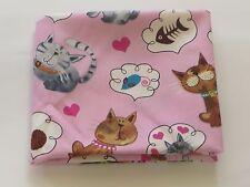 Pink  Fabric Cats Fat Quarter 40cm x 50 cm