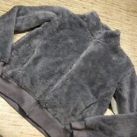 R-138 Zella Womens Fleece Bomber Jacket Gray Zip Up Pockets Mock Neck L