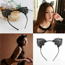 Women Lady Girls Kids Sexy Cat Kitte Costume Ear Party Lace Hair Head Band Prop