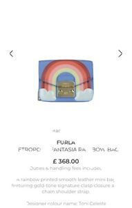 FURLA Metropolis Fantasia Rainbow Mini Crossbody Bag 100% Leather