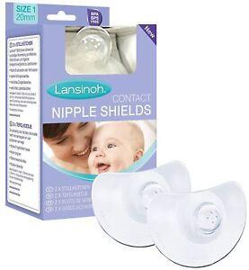 Lansinoh CONTACT NIPPLE SHIELDS Flexible Soft Silicone Baby Bottle Feeding BN
