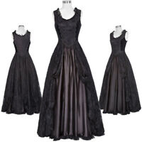 Retro Victorian Formal Dress Gown Gothic Theater Steampunk Satin Soft Costume