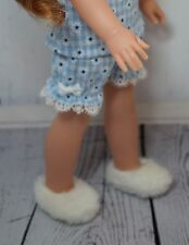 Fuzzy White Slippers for American Girl Wellie Wisher Dolls and Hearts 4 Hearts