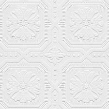 Romanesque Ceiling Tile Raised White Textured Paintable Square Wallpaper 48928