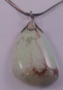 Silver Chain with Green Agate Pendant Ladies Necklace