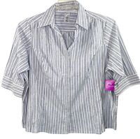 Just My Size Women's Blouse/Top Sz 4X Striped Collar 3/4 Sleeve Button Up New