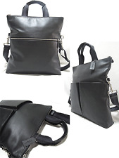 3dfcaf3480 Coach Charles Foldover Smooth Leather Tote Bag Black F54759