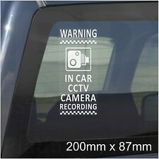 1 x In Car Camera Recording Warning Stickers-CCTV Sign-Van,Lorry,Taxi,Minicab PR