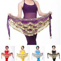 Pop Belly Dance Hip Scarf Charming Bright Color Skirt Wrap Coins Waist Belts