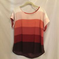 NY and Co 7th Avenue Design Studio Womens Blouse Bold Stripes Zip Back SS Large