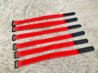 20mm X 300mm RC Rubberized Battery Straps 6 Pack Red / Black