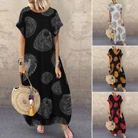 ZANZEA Womens Kaftan Casual Holiday Beach Long Shirt Dress Summer Swing Sundress