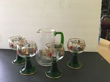 Vintage Wine Glasses Goblets Green Rib Base Vine Grapes W/Gold rim Set 5