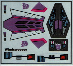 TRANSFORMERS GENERATION 1, G1 DECEPTICON WINDSWEEPER REPRO LABELS / STICKERS