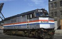 AMTRAK Railroad Train Locomotive 362 CHICAGO IL Original 1990 Photo Slide