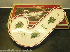 BRAND NEW NEVER USED SPODE CHRISTMAS TREE PEPPERMINT CANDY CANE TRAY BOXED